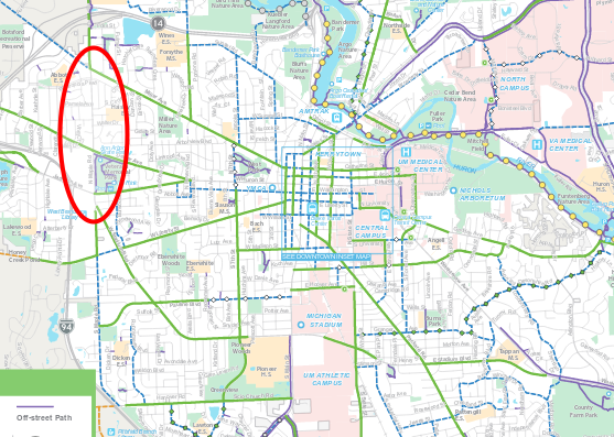 map of bike lanes with N Maple road highlighted