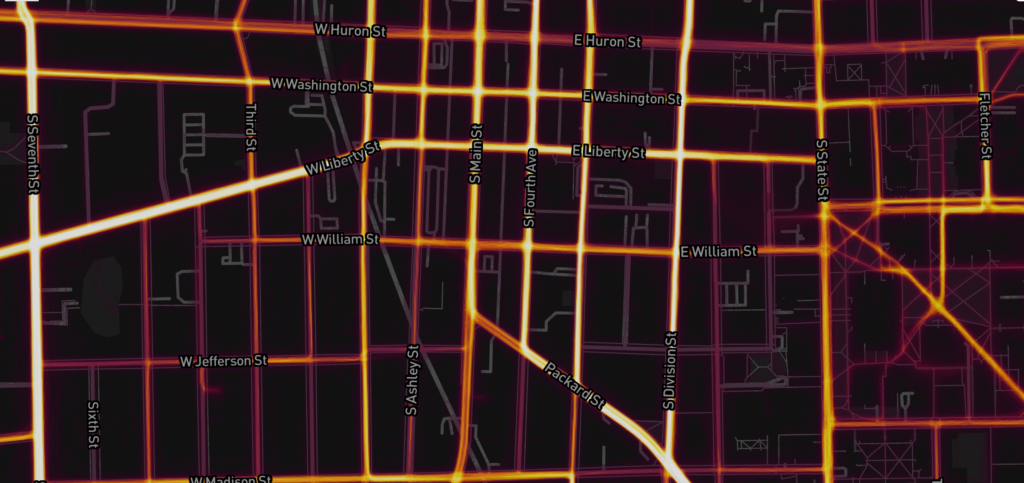 heatmap showing cycling traffic on the Strava app